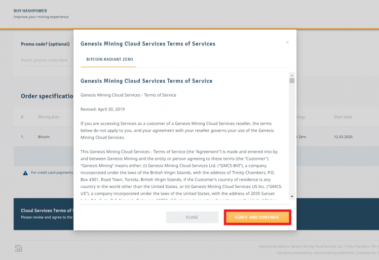 4. Terms and Conditions agreement - Genesis mining