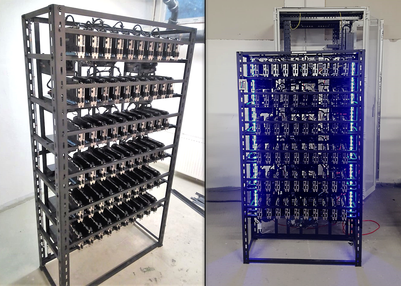 Computer-Machine Miner for Ethereum Mining 1800 MHs, 60 GPU card in frame, for sale